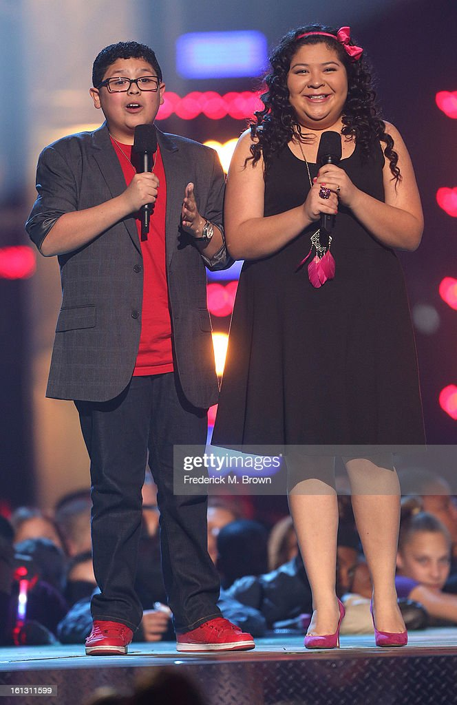 Actor Rico Rodriguez (L) and actress Raini Rodriguez speak during the 3rd Annual Cartoon Network's 'Hall Of Fame' Awards at the Barker Hangar, Santa Monica Airport, on February 9, 2013 in Santa Monica, California.