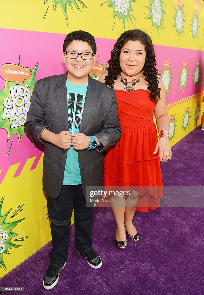 Actor Rico Rodriguez (L) and actress/singer Raini Rodriguez arrive at Nickelodeon's 26th Annual Kids' Choice Awards at USC Galen Center on March 23, 2013 in Los Angeles, California.
