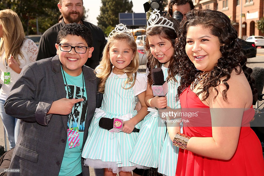 Actor Rico Rodriguez, singers Sophia Grace Brownlee, Rosie McClelland and actress Raini Rodriguez arrive at Nickelodeon's 26th Annual Kids' Choice Awards at USC Galen Center on March 23, 2013 in Los Angeles, California.