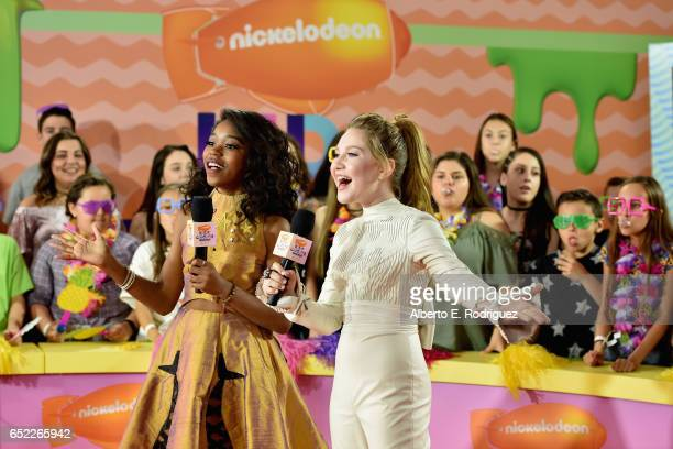 Actor Riele Downs and Actor Ella Anderson at Nickelodeon's 2017 Kids' Choice Awards at USC Galen Center on March 11 2017 in Los Angeles California
