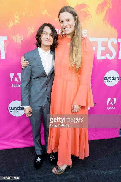 Actor Rio Mangini and Director/Writer/Actress Marianna Palka arrive for the 2017 Sundance NEXT FEST at The Theater at The Ace Hotel on August 12 2017...