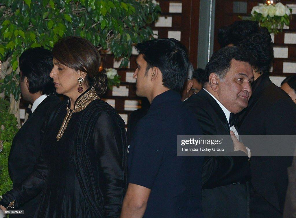 Actor Rishi Kappor and wife Neetu Singh at Nayantara's engagement party in Antilla in Mumbai on Saturday, January 5, 2013.