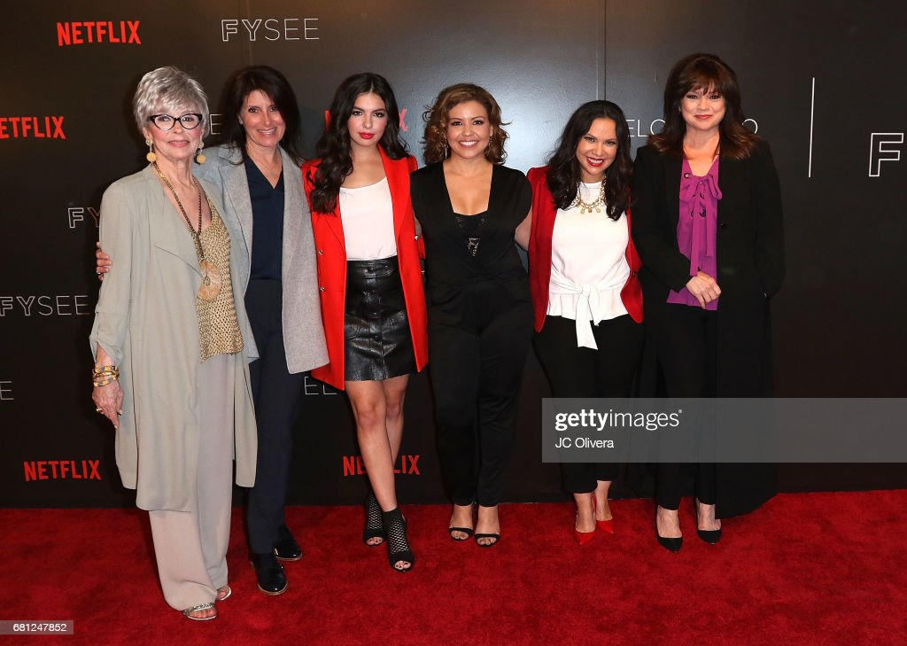 Actor Rita Moreno, director Pamela Fryman, actors Isabella Gomez, Justina Machado, Gloria Calderon Kellet and Valerie Bertinelli attend The Women of Netflix's 'One Day At A Time' For Your Consideration Event at Netflix FYSee Space on May 9, 2017 in Beverly Hills, California.
