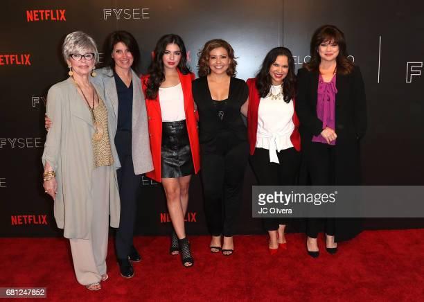 Actor Rita Moreno director Pamela Fryman actors Isabella Gomez Justina Machado Gloria Calderon Kellet and Valerie Bertinelli attend The Women of...