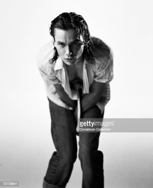 Actor River Phoenix poses for a photoshoot in 1993 in a studio in Los Angeles California These were the last photos shot of River Phoenix who died on...