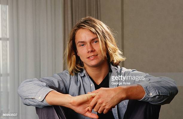Actor River Phoenix star of 'Stand By Me' playfully poses during a 1988 Los Angeles California photo portrait session Phoenix a rising young film...