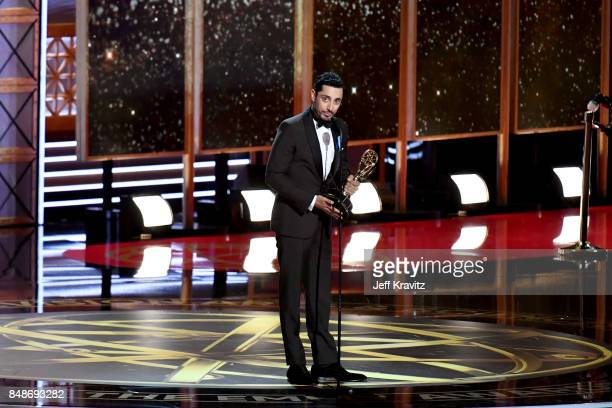 Actor Riz Ahmed accepts the Outstanding Lead Actor in a Limited Series or Movie award for ' The Night Of ' onstage during the 69th Annual Primetime...