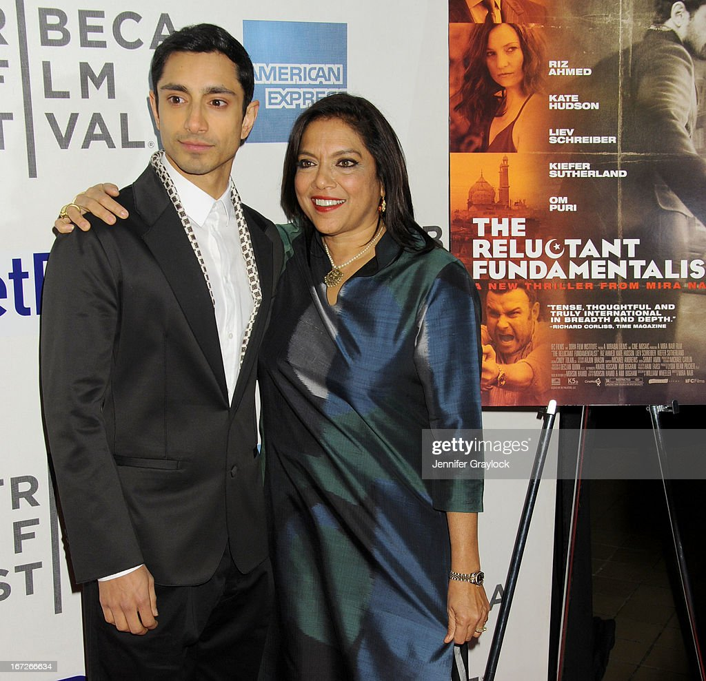 Actor Riz Ahmed and Director <a gi-track='captionPersonalityLinkClicked' href=/galleries/search?phrase=Mira+Nair&family=editorial&specificpeople=214181 ng-click='$event.stopPropagation()'>Mira Nair</a> attend the 'Reluctant Fundamentalist' US Premiere - 2013 Tribeca Film Festival at BMCC Tribeca PAC on April 22, 2013 in New York City.