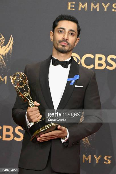 Actor Riz Ahmed poses with the Outstanding Supporting Actor in a Drama Series award for 'The Night Of' in the press room during the 69th Annual...