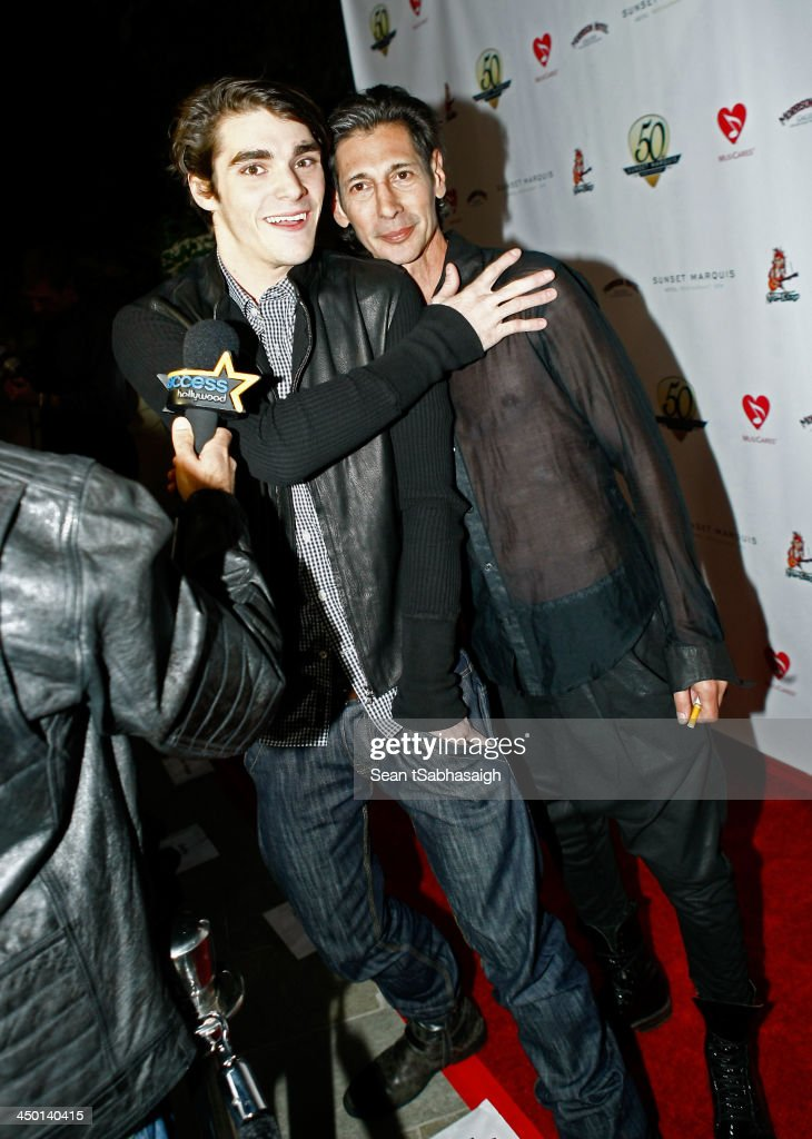 Actor <a gi-track='captionPersonalityLinkClicked' href=/galleries/search?phrase=RJ+Mitte&family=editorial&specificpeople=4542119 ng-click='$event.stopPropagation()'>RJ Mitte</a> (L) and Anthony Sartino attend the Sunset Marquis Hotel 50th Anniversary Birthday Bash at Sunset Marquis Hotel & Villas on November 16, 2013 in West Hollywood, California.