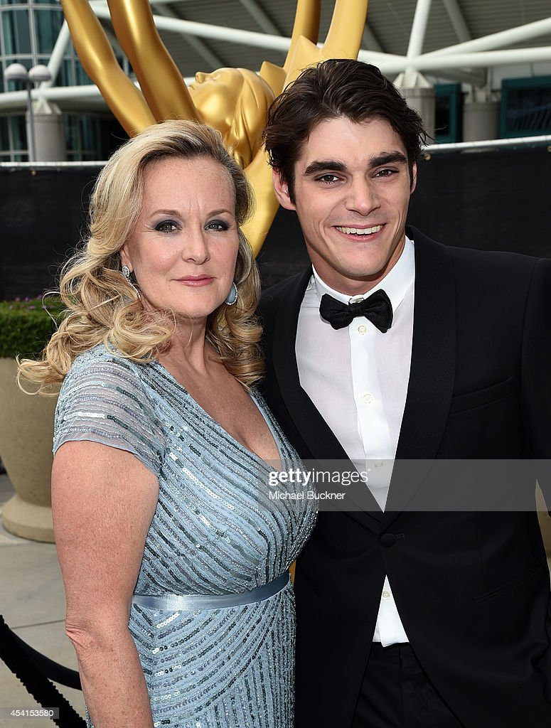 Actor RJ Mitte and Dyna Mitte attend the 66th Annual Primetime Emmy Awards held at Nokia Theatre LA Live on August 25 2014 in Los Angeles California