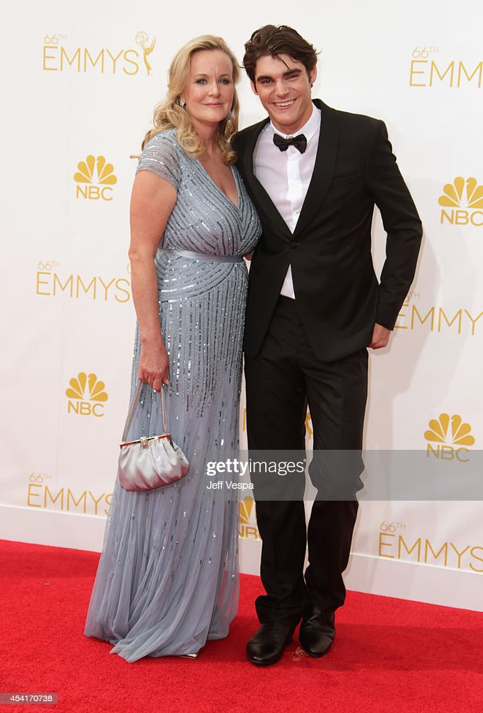 Actor RJ Mitte and guest attend the 66th Annual Primetime Emmy Awards held at Nokia Theatre LA Live on August 25 2014 in Los Angeles California