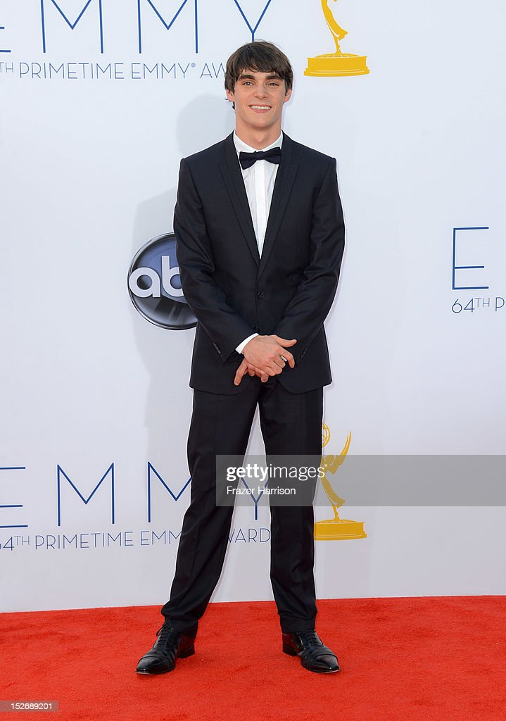 Actor <a gi-track='captionPersonalityLinkClicked' href=/galleries/search?phrase=RJ+Mitte&family=editorial&specificpeople=4542119 ng-click='$event.stopPropagation()'>RJ Mitte</a> arrives at the 64th Annual Primetime Emmy Awards at Nokia Theatre L.A. Live on September 23, 2012 in Los Angeles, California.