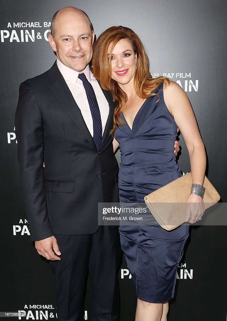 Actor Rob Corddry (L) and Sandra Corddry attend the premiere of Paramount Pictures' 'Pain & Gain' at the TCL Chinese Theatre on April 22, 2013 in Hollywood, California.