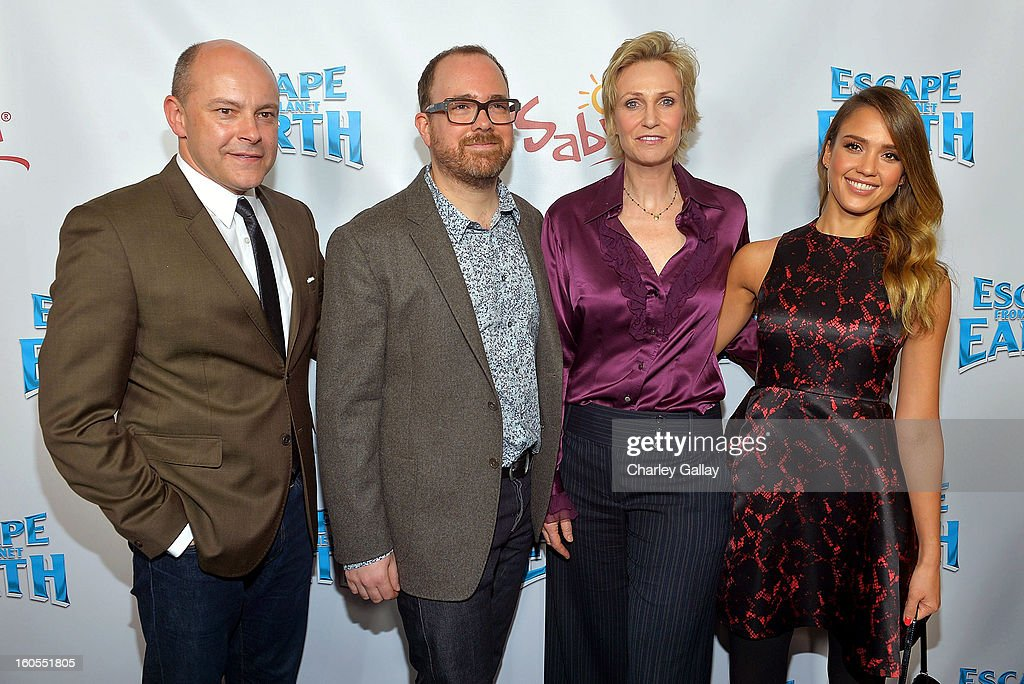 Actor <a gi-track='captionPersonalityLinkClicked' href=/galleries/search?phrase=Rob+Corddry&family=editorial&specificpeople=583934 ng-click='$event.stopPropagation()'>Rob Corddry</a>, director Cal Brunker and actresses <a gi-track='captionPersonalityLinkClicked' href=/galleries/search?phrase=Jane+Lynch&family=editorial&specificpeople=663918 ng-click='$event.stopPropagation()'>Jane Lynch</a> and <a gi-track='captionPersonalityLinkClicked' href=/galleries/search?phrase=Jessica+Alba&family=editorial&specificpeople=201811 ng-click='$event.stopPropagation()'>Jessica Alba</a> attend the 'Escape From Planet Earth' premiere presented by The Weinstein Company in partnership with Sabra at Mann Chinese 6 on February 2, 2013 in Los Angeles, California.