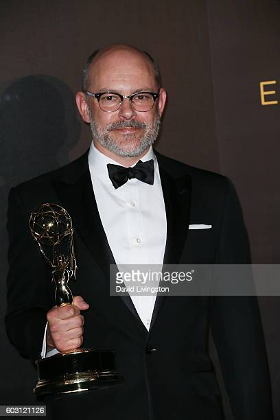 Actor Rob Corddry winner of Outstanding Actor In A Short Form Comedy Or Drama Series poses in the 2016 Creative Arts Emmy Awards Press Room Day 2 at...