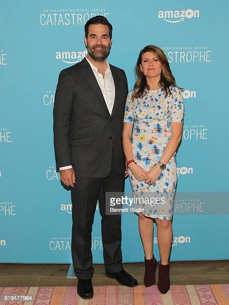 Actor Rob Delaney and actress Sharon Horgan attends the 'Catastrophe' New York Screening at Crosby Street Hotel on April 6 2016 in New York City