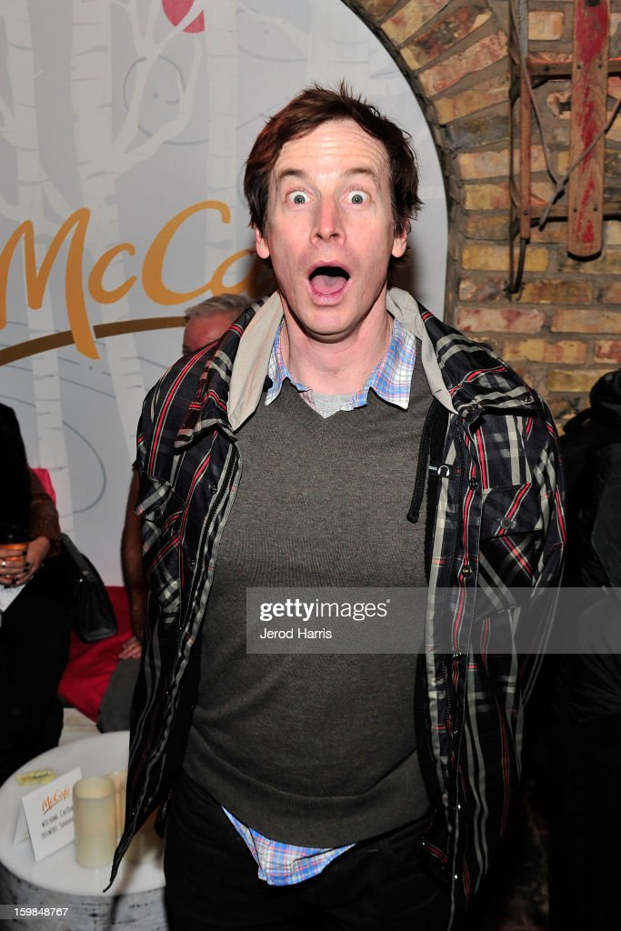 Actor Rob Huebel warms up at the McDonald's McCafe at Sundance on January 21, 2013 in Park City, Utah.