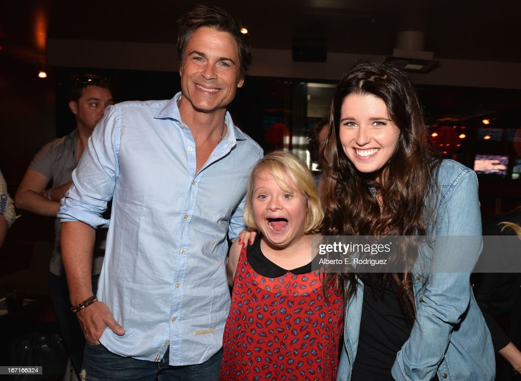 Actor <a gi-track='captionPersonalityLinkClicked' href=/galleries/search?phrase=Rob+Lowe&family=editorial&specificpeople=211607 ng-click='$event.stopPropagation()'>Rob Lowe</a>, actress <a gi-track='captionPersonalityLinkClicked' href=/galleries/search?phrase=Lauren+Potter&family=editorial&specificpeople=7243163 ng-click='$event.stopPropagation()'>Lauren Potter</a> and author <a gi-track='captionPersonalityLinkClicked' href=/galleries/search?phrase=Katherine+Schwarzenegger&family=editorial&specificpeople=962036 ng-click='$event.stopPropagation()'>Katherine Schwarzenegger</a> attend the Best Buddies' Bowling For Buddies Event at Lucky Strike Lanes at L.A. Live on April 21, 2013 in Los Angeles, California.