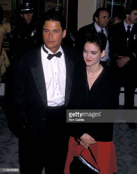Actor Rob Lowe and actress Winona Ryder attend the 45th Annual Golden Globe Awards on January 23 1988 at Beverly Hilton Hotel in Beverly Hills...