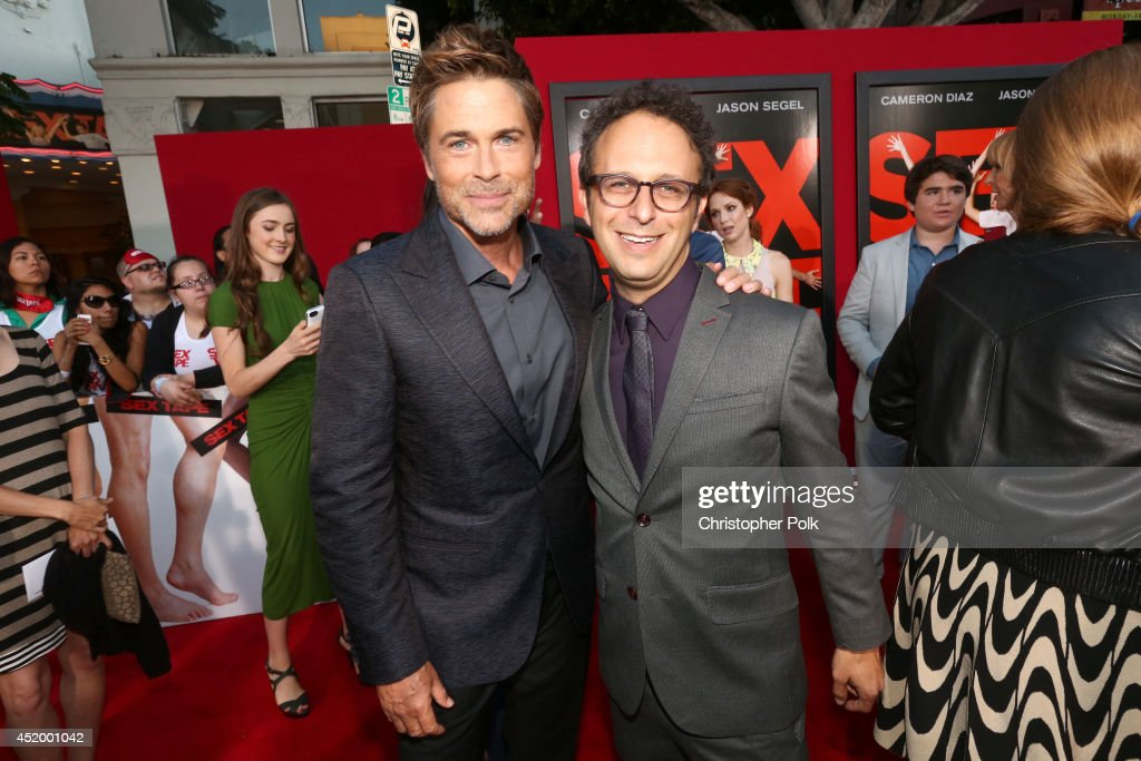 Actor <a gi-track='captionPersonalityLinkClicked' href=/galleries/search?phrase=Rob+Lowe&family=editorial&specificpeople=211607 ng-click='$event.stopPropagation()'>Rob Lowe</a> (L) and filmmaker <a gi-track='captionPersonalityLinkClicked' href=/galleries/search?phrase=Jake+Kasdan&family=editorial&specificpeople=661996 ng-click='$event.stopPropagation()'>Jake Kasdan</a> attend the premiere of Columbia Pictures' 'Sex Tape' at Regency Village Theatre on July 10, 2014 in Westwood, California.
