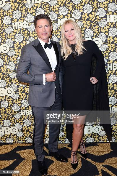 Actor Rob Lowe and makeup artist Sheryl Berkoff attend HBO's Post 2016 Golden Globe Awards Party at Circa 55 Restaurant on January 10 2016 in Los...