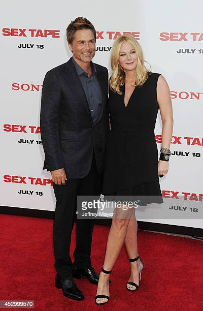 Actor Rob Lowe and Sheryl Berkoff arrive at the 'Sex Tape' Los Angeles Premiere at Regency Village Theatre on July 10 2014 in Westwood California