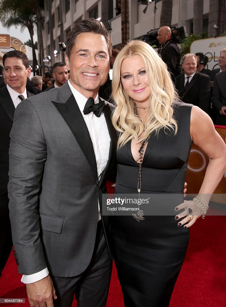 Actor Rob Lowe and Sheryl Berkoff attends the 73rd Annual Golden Globe Awards at The Beverly Hilton Hotel on January 10, 2016 in Beverly Hills, California.