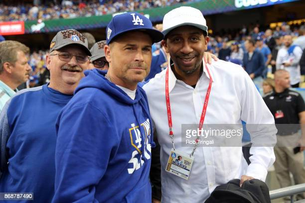 Actor Rob Lowe and Stephen A Smith pose for a photo prior to Game 6 of the 2017 World Series between the Houston Astros and the Los Angeles Dodgers...
