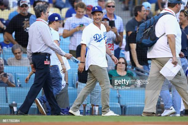 Actor Rob Lowe is seen before Game Two of the National League Championship Series between the Los Angeles Dodgers and Chicago Cubs at Dodger Stadium...