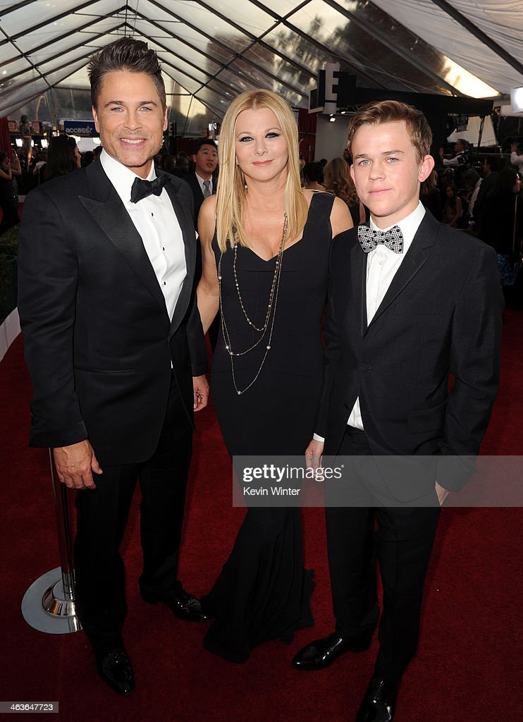 Actor <a gi-track='captionPersonalityLinkClicked' href=/galleries/search?phrase=Rob+Lowe&family=editorial&specificpeople=211607 ng-click='$event.stopPropagation()'>Rob Lowe</a> (L), Sheryl Berkoff, and John Owen Lowe attend 20th Annual Screen Actors Guild Awards at The Shrine Auditorium on January 18, 2014 in Los Angeles, California.