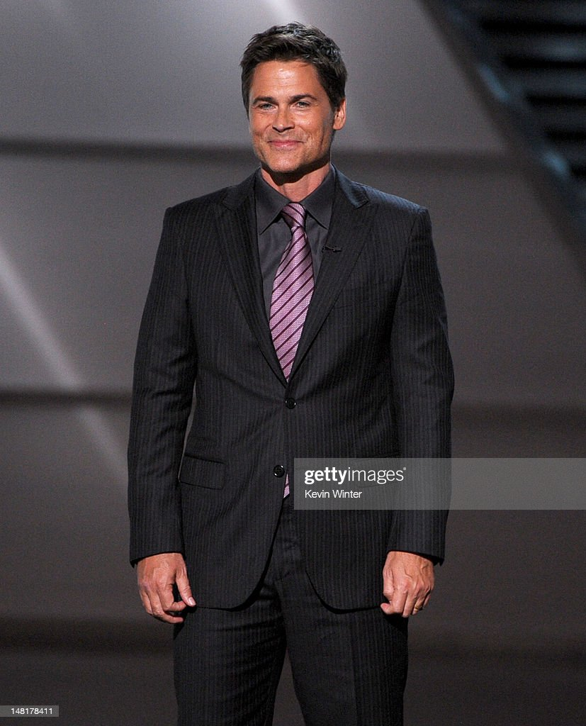 Actor <a gi-track='captionPersonalityLinkClicked' href=/galleries/search?phrase=Rob+Lowe&family=editorial&specificpeople=211607 ng-click='$event.stopPropagation()'>Rob Lowe</a> speaks onstage during the 2012 ESPY Awards at Nokia Theatre L.A. Live on July 11, 2012 in Los Angeles, California.