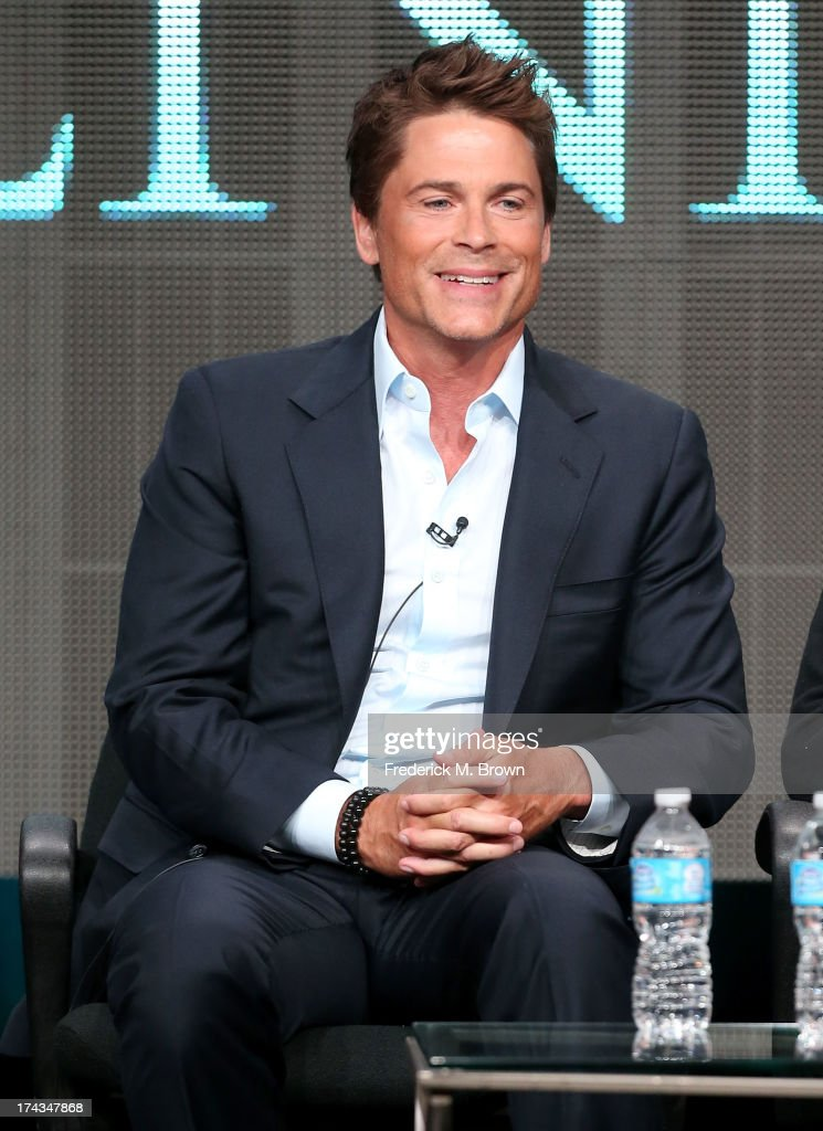 Actor Rob Lowe speaks onstage during the Killing Kennedy panel at the National Geographic Channels portion of the 2013 Summer Television Critics Association tour at the Beverly Hilton Hotel on July 24, 2013 in Beverly Hills, California.