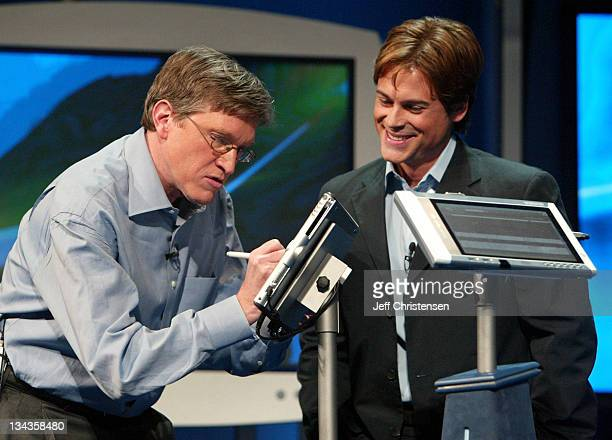 Actor Rob Lowe watches as Jeff Raikes Group VP at Microsoft does a demonstration of the new Tablet PC Raikes and Lowe were demonstrating how the new...