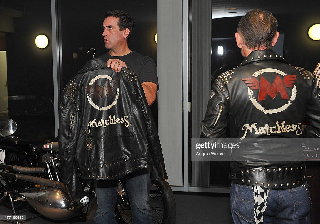 Actor Rob Riggle and Ace Cafe owner Mark Wilsmore attend Return to the Salt with Brough Superior hosted by Jay Leno presented by Matchless and Ace Cafe at the The Petersen Automotive Museum on August 21, 2013 in Los Angeles, California.