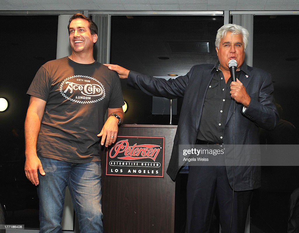 Actor Rob Riggle and comedian Jay Leno attend Return to the Salt with Brough Superior hosted by Jay Leno presented by Matchless and Ace Cafe at the The Petersen Automotive Museum on August 21, 2013 in Los Angeles, California.
