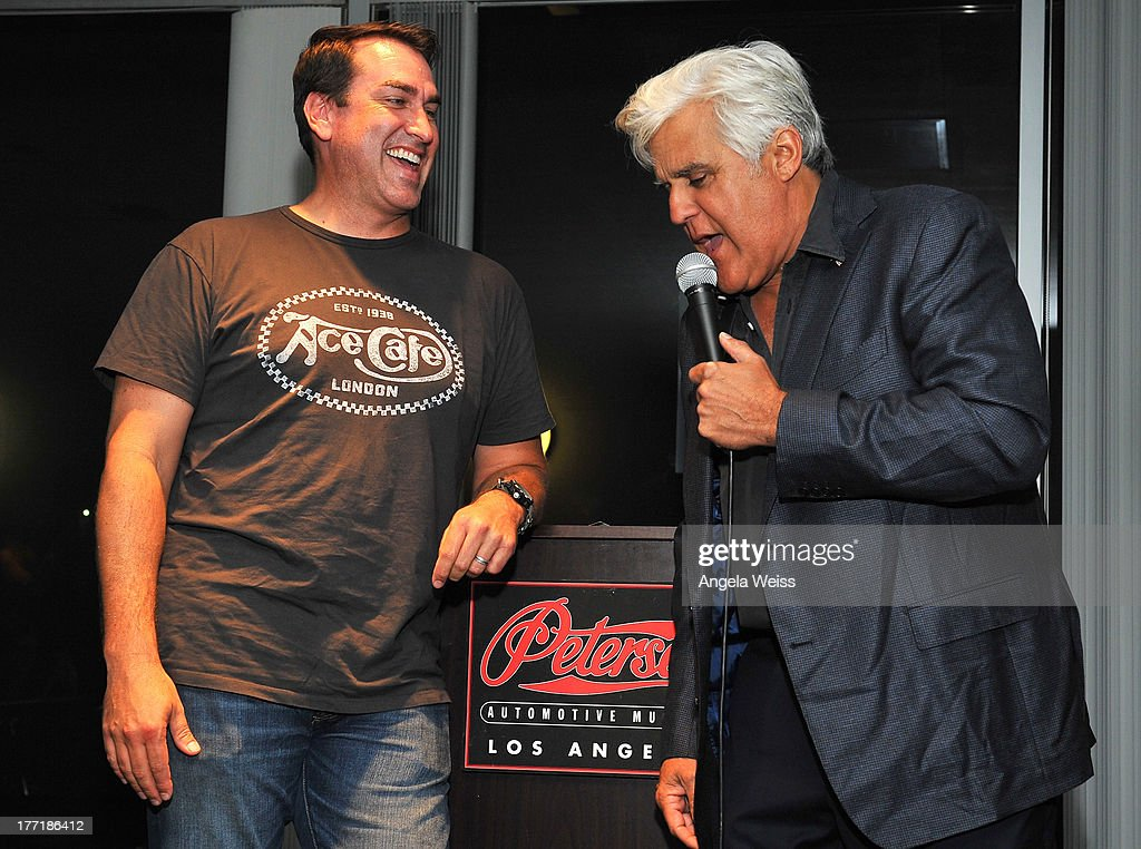 Actor <a gi-track='captionPersonalityLinkClicked' href=/galleries/search?phrase=Rob+Riggle&family=editorial&specificpeople=2789494 ng-click='$event.stopPropagation()'>Rob Riggle</a> and comedian Jay Leno attend Return to the Salt with Brough Superior hosted by Jay Leno presented by Matchless and Ace Cafe at the The Petersen Automotive Museum on August 21, 2013 in Los Angeles, California.