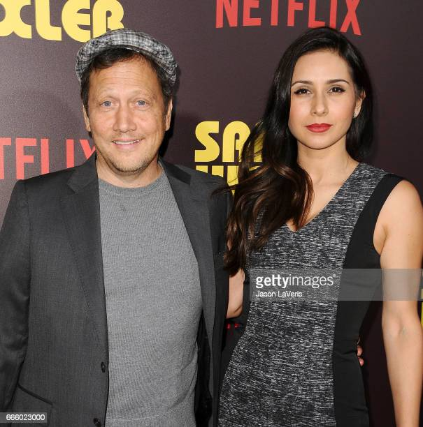 Actor Rob Schneider and wife Patricia Azarcoya Schneider attend the premiere of 'Sandy Wexler' at ArcLight Cinemas Cinerama Dome on April 6 2017 in...