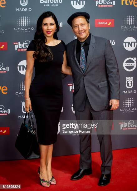 Actor Rob Schneider and wife Patricia Azarcoya Schneider attend the attend the Platino Awards 2017 Welcome Party on July 20 2017 in Madrid Spain