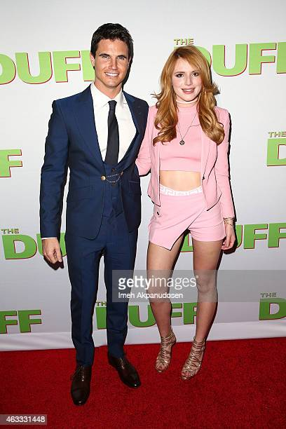 Actor Robbie Amell and actress Bella Thorne attend the fan screening of CBS Films' 'The Duff' at TCL Chinese 6 Theatres on February 12 2015 in...