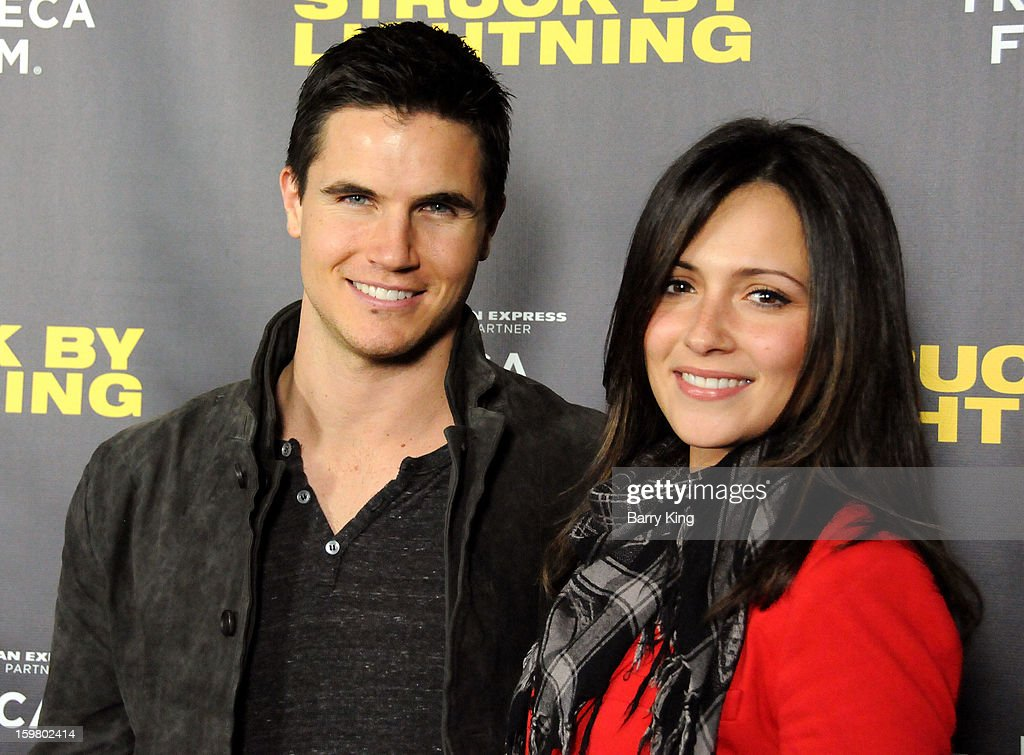 Actor <a gi-track='captionPersonalityLinkClicked' href=/galleries/search?phrase=Robbie+Amell&family=editorial&specificpeople=4601097 ng-click='$event.stopPropagation()'>Robbie Amell</a> and actress Italia Ricci attend the 'Struck By Lightning' premiere at Mann Chinese 6 on January 6, 2013 in Los Angeles, California.