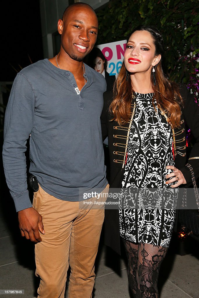 Actor Robbie Jones (L) and actress/model Sandra Vergara attend the Celebration of NYLON's December/January Cover Star Lucy Hale Presented by bebe at Andaz Hotel on December 7, 2012 in Los Angeles, California.