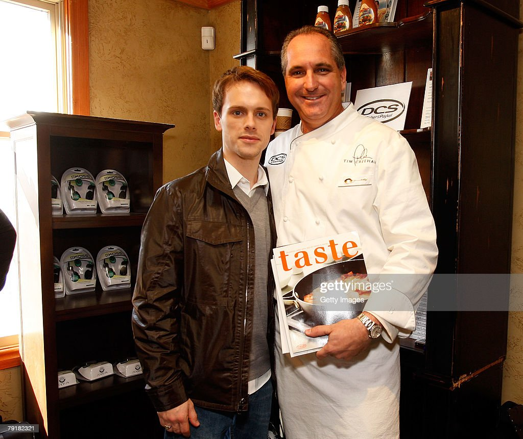 Actor Robert Boulter (L) poses with the DCS display at the Gibson Guitar celebrity hospitality lounge held at the Miners Club during the 2008 Sundance Film Festival on January 23, 2008 in Park City, Utah.
