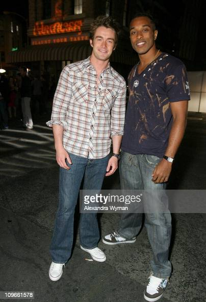Actor Robert Buckley and guest at the Hennessy Lounge during Maxim's 2008 Hot 100 Party at Paramount Studios on May 21 2008 in Los Angeles California