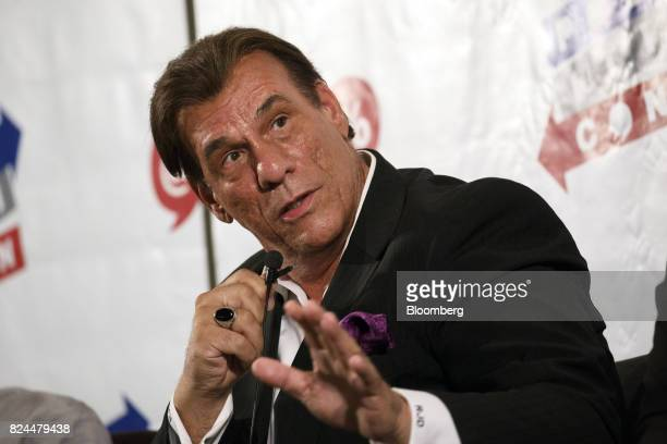 Actor Robert Davi speaks during the Politicon convention inside the Pasadena Convention Center in Pasadena California US on Saturday July 29 2017...