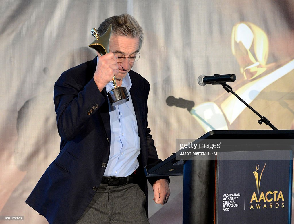 Actor <a gi-track='captionPersonalityLinkClicked' href=/galleries/search?phrase=Robert+De+Niro&family=editorial&specificpeople=201673 ng-click='$event.stopPropagation()'>Robert De Niro</a> accepts the award for best supporting actor onstage during the Australian Academy of Cinema and Television Arts' 2nd AACTA International Awards at Soho House on January 26, 2013 in West Hollywood, California.