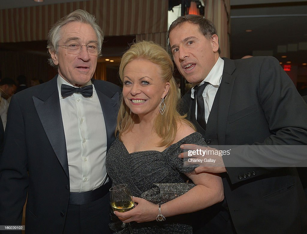 Actor <a gi-track='captionPersonalityLinkClicked' href=/galleries/search?phrase=Robert+De+Niro&family=editorial&specificpeople=201673 ng-click='$event.stopPropagation()'>Robert De Niro</a>, actress <a gi-track='captionPersonalityLinkClicked' href=/galleries/search?phrase=Jacki+Weaver&family=editorial&specificpeople=220549 ng-click='$event.stopPropagation()'>Jacki Weaver</a> and Director <a gi-track='captionPersonalityLinkClicked' href=/galleries/search?phrase=David+O.+Russell&family=editorial&specificpeople=215306 ng-click='$event.stopPropagation()'>David O. Russell</a> attend The Weinstein Company's SAG Awards After Party Presented By FIJI Water at Sunset Tower on January 27, 2013 in West Hollywood, California.