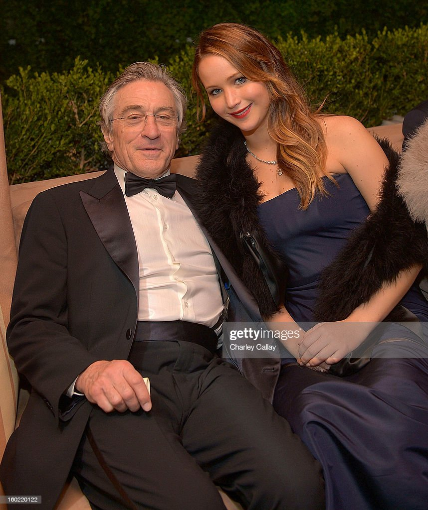 Actor <a gi-track='captionPersonalityLinkClicked' href=/galleries/search?phrase=Robert+De+Niro&family=editorial&specificpeople=201673 ng-click='$event.stopPropagation()'>Robert De Niro</a> (L) and actress <a gi-track='captionPersonalityLinkClicked' href=/galleries/search?phrase=Jennifer+Lawrence&family=editorial&specificpeople=1596040 ng-click='$event.stopPropagation()'>Jennifer Lawrence</a> attend The Weinstein Company's SAG Awards After Party Presented By FIJI Water at Sunset Tower on January 27, 2013 in West Hollywood, California.