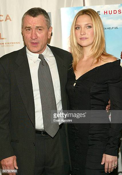 Actor Robert De Niro and actress Kate Hudson arrive at the 'Raising Helen' screening during the 2004 Tribeca Film Festival on May 1 2004 in New York...