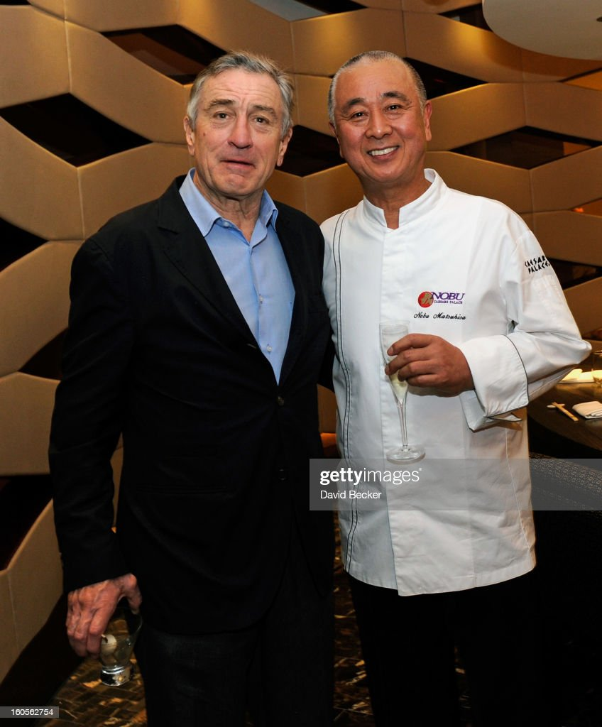 Actor Robert De Niro (L) and chef <a gi-track='captionPersonalityLinkClicked' href=/galleries/search?phrase=Nobu+Matsuhisa&family=editorial&specificpeople=4292658 ng-click='$event.stopPropagation()'>Nobu Matsuhisa</a> appear during a preview for the Nobu Restaurant and Lounge Caesars Palace on February 2, 2013 in Las Vegas, Nevada. The Nobu Hotel Restaurant and Lounge Casears Palace is scheduled to open on February 4.